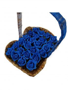 Hasır Sepette Mavi çiçekli Çikolata