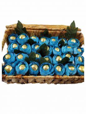 Hasır Kutuda Çiçek İçerisinde Çikolata